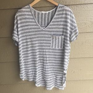 LUSH Nordstrom Striped Pocket Casual V Neck